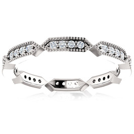 1/4 Ct Diamond Eternity Ring 10k White Gold Womens Stakable Wedding Band (H/I, I1-I2)