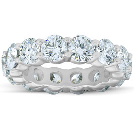 6 3/4 Ct Diamond Eternity Wedding Ring 14k White Gold Lab Grown (F, VS/SI)
