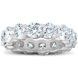 6 3/4 Ct Diamond Eternity Womens Wedding Ring 14k White Gold (H/I, I2-I3)