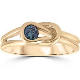 1/5ct Knot Treated Blue Diamond Solitaire Promise Ring 14K Yellow Gold (G/H, SI1-SI2)