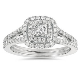 1ct Princess Cut Diamond Double Halo Engagement Ring 14K White Gold (H/I, I1-I2)