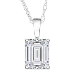 1 Ct Emerald Diamond Solitaire Pendant 14k White Gold (H, SI)