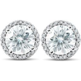 2 1/5 Ct Diamond Halo Moissanite Studs 10k White Gold (H, VS)