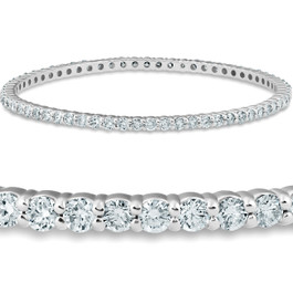 6 3/4 Ct Diamond Bangle Bracelet 10K White Gold (G/H, I1)