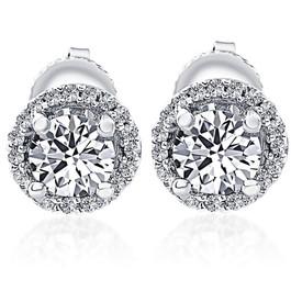1/2 Ct Halo Diamond Studs 10K White Gold (G/H, I1)