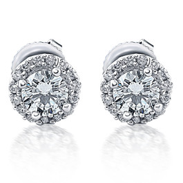 1/4 Ct Halo Diamond Studs 10K White Gold (G/H, I1)