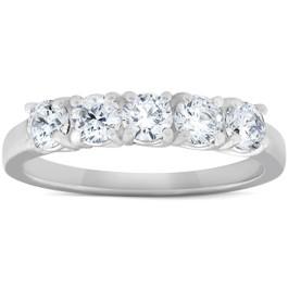 1 Ct Diamond Five Stone Tellis Wedding Ring 14k White Gold (H/I, )