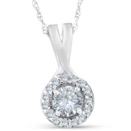 1/2 Ct Diamond Halo Infinity Pendant 14k White Gold (G/H, I2)