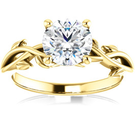 1 1/4 ct Solitaire Moissanite Vine Engagement Ring 14k Yellow Gold (H/I, VVS1)