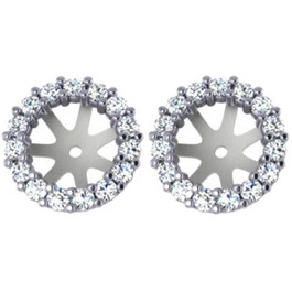 3/4ct Diamond Earring Studs Halo Jackets 14 Kt WG (6.5-7mm) (G-H, I1)
