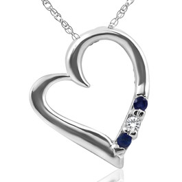 "Diamond & Blue Sapphire Heart Pendant 3-Stone 14K White Gold with 18"" Chain (G/H, I2)"