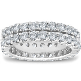 3 1/2 ct Diamond Double Row Eternity Ring Womens Wedding Band 14k White Gold (H/I, I1-I2)