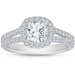 1 1/2Ct Diamond Cushion Halo Split Shank Engagement Ring 14k White Gold (H/I, SI1-SI2)