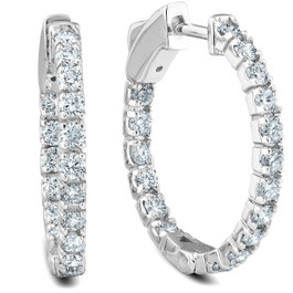"1.07Ct Diamond Inside Outside Hoops Womens Earrings 14k White Gold 1""Tall (G/H, VS)"