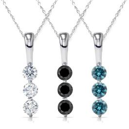 "1/4CT 3-Stone Diamond Petite Pendant 10k White Gold 1/2"" Tall"