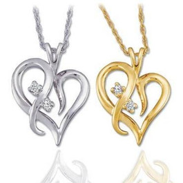 """Solitaire Diamond Heart Pendant 14K Gold With 18"""" Chain"""