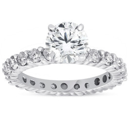 2ct Diamond Eternity Engagement Ring 14K White Gold ((G-H), SI(1)-SI(2))