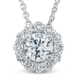 1 1/2 Ct Diamond (1ct center) Halo Pendant 14k White Gold Necklace (G/H, SI)