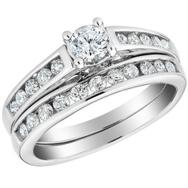 1/2 Ct Diamond Engagement Wedding Ring Set 10k White Gold (H/I, I1-I2)