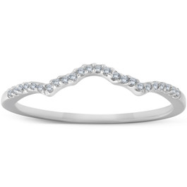 1/8 Ct Diamond Contoured Womens Wedding Anniversary Ring 14k White Gold Band (H/I, I1-I2)