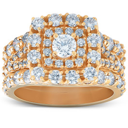 3 1/2 Ct Diamond Engagement Trio Wedding Ring Set 10k Yellow Gold Cushion Halo (H/I, I1-I2)