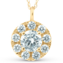 14K Yellow Gold 1 1/2ct Circle Round Lab Grown Diamond Pendant Necklace (G/H, SI)