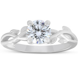 1 1/4 ct Solitaire Moissanite Vine Engagement Ring 14k White Gold (H/I, VVS1)