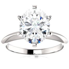 2 Ct Oval Moissanite Solitaire Engagement Ring 14k White Gold (H/I, VVS1)