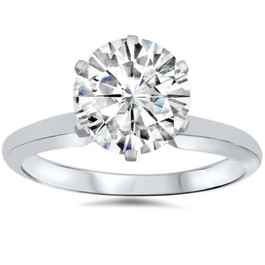 1ct Solitaire Moissanite Engagement Ring Round Brilliant 14k White Gold (G/H, VVS1)