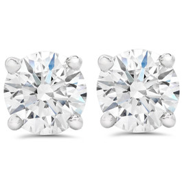 2 1/2 ct Round Diamond Screw Back Studs in 14k White Gold Enhanced (G-H, SI)