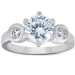 4Ct Round Cut Moissanite & Diamond 3-Stone Ring 14K White Gold (F, VVS1)