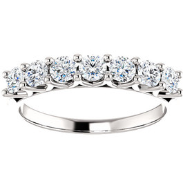 1/2 Ct Seven Stone Diamond Wedding Ring Lab Grown 14k White Gold (((G-H)), I)