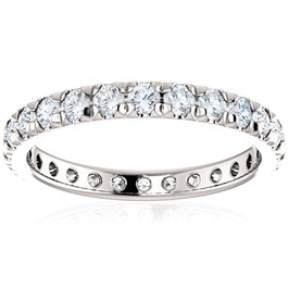 1 Ct Diamond Wedding Eternity Ring Lab Grown 14k White Gold (((G-H)), SI(2)-I(1))