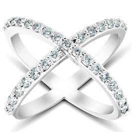 1 Ct Diamond X Ring Wide Womens Fashion Designer Band 14k White Gold Lab Grown (((G-H)), I)