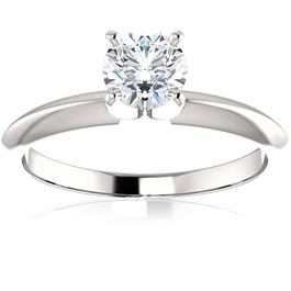 1/2 Ct Lab Grown Diamond Solitaire Engagement Ring 14k White Rose or Yellow Gold ((E-F), SI(1)-SI(2))