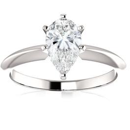 1 Ct Pear Shape Diamond IGI Certified Engagement Ring Lab Grown 14k White Gold ((E), SI(1))