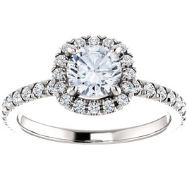 1 Ct Cushion Halo EX3 Lab Grown Diamond Engagement Ring 14k White Gold (((G-H)), VS1)
