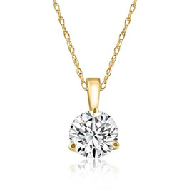 1/4 Ct Diamond Solitaire Pendant EX3 Lab Grown IGI Certified Yellow Gold (GH/SI) (((G-H)), SI(1)-SI(2))