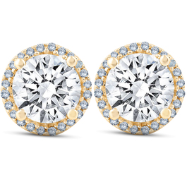 2 1/5 Ct Diamond Halo Screw Back Studs 10k Yellow Gold Moissanite (H, VS)
