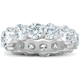 6 Ct EX3 Lab Grown Diamond Eternity Wedding Ring 14k White Gold (F/G, VS)