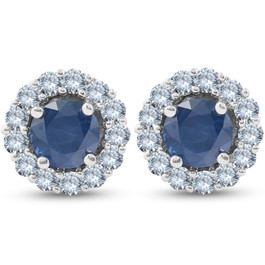 2 1/5 Ct Halo Diamond & Blue Sapphire Studs 14k White Gold (G-H, I1)