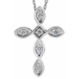 Diamond Cross Pendant 14k White Gold EX3 Lab Grown ((H-I), I)