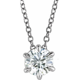 "14K White Gold 1/2ct Floating Solitaire Round Diamond Pendant 18"" Necklace (H/I, I2)"