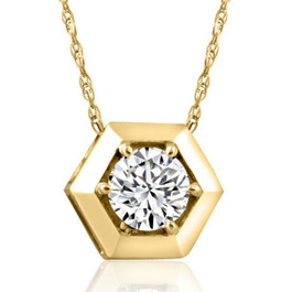 14k Yellow Gold 1/2ct Lab Grown Diamond Solitaire Geometric Pendant Necklace (((G-H)), VS)