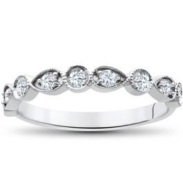 1/4Ct Diamond Wedding Ring Womens Stackable 10k White Gold Anniversary Band (G/H, I1-I2)