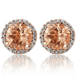1 1/2 Ct Diamond & Morganite Rose Gold Halo Studs Screw Back Earrings Rose Gold (I-J, I2-I3)