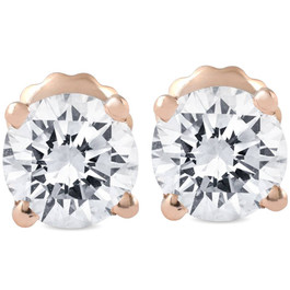1 Ct TDW Diamond 14k Rose Gold Studs IGI Certified (K-L, I2-I3)