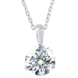 1/3Ct EX3 Lab Grown Diamond Solitaire Pendant Necklace IGI Certified White Gold ((I-J), SI(1)-SI(2))