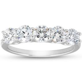 1 1/4 Ct EX3 Lab Grown Diamond Five Stone Wedding Ring 14k White Gold U Prong (((G-H)), SI(1)-SI(2))