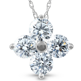 1 Ct Diamond 4-Stone Pendant 14k White Gold EX3 Lab Grown Necklace (((G-H)), SI(1)-SI(2))